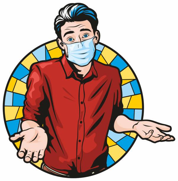 Man Shrugging Wearing Surgical Face Mask vector art illustration