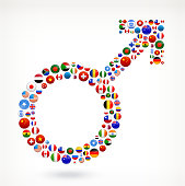 Male Sign with World Flag Buttons