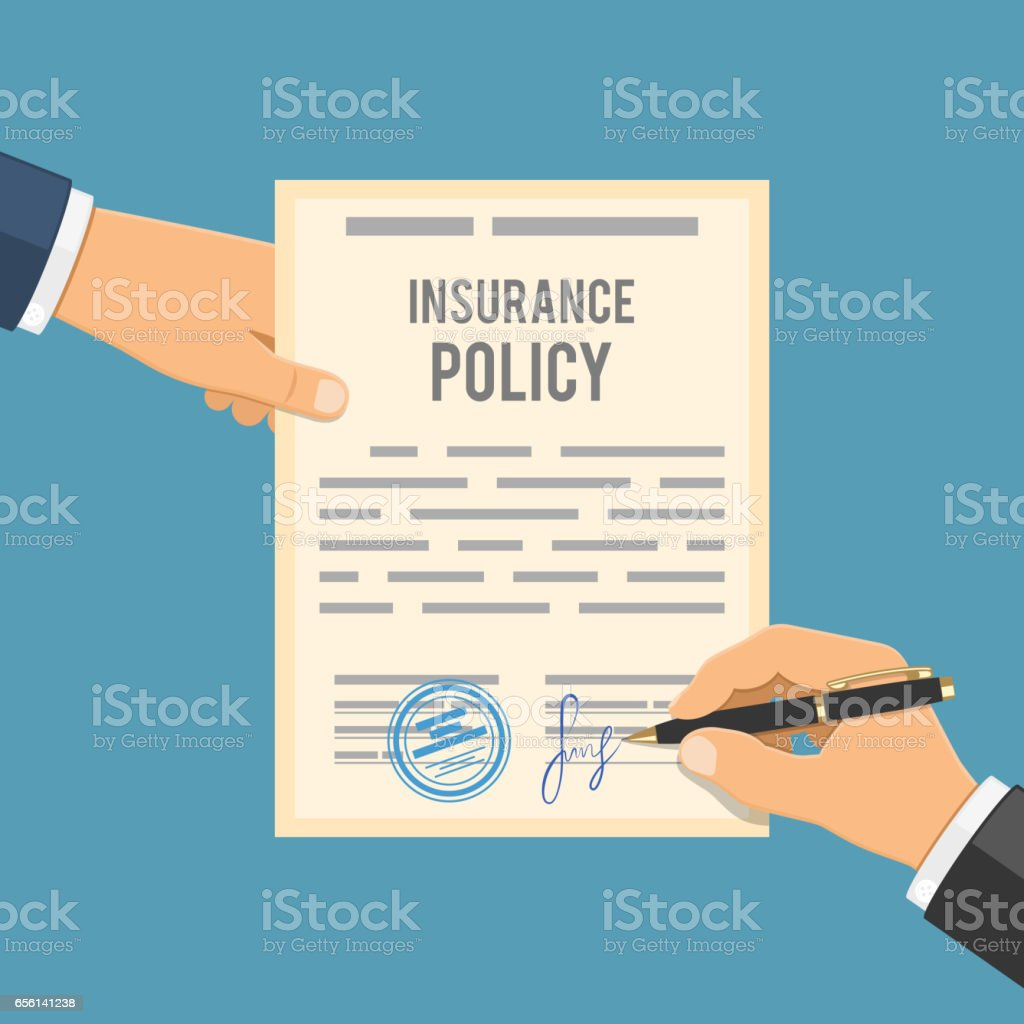 Man Signs Insurance Policy Stock Illustration - Download ...