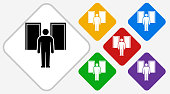 Man Silhouette Facing Doors Color Diamond Vector Icon. The icon is black and is placed on a diamond vector button. The button is flat white color and the background is light. The composition is simple and elegant. The vector icon is the most prominent part if this illustration. There are five alternate button variations on the right side of the image. The alternate colors are red, yellow, green, purple and blue.