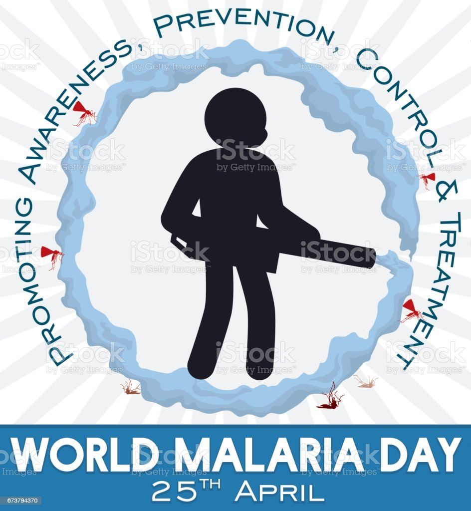 Man Silhouette Fumigating and Promoting Prevention in World Malaria Day векторная иллюстрация