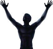 Man silhouette hands raised