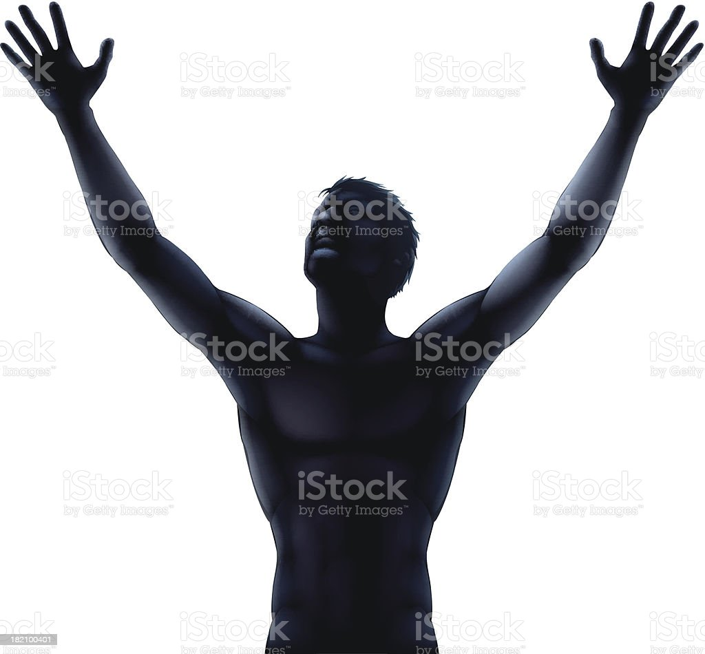 Man silhouette hands raised vector art illustration
