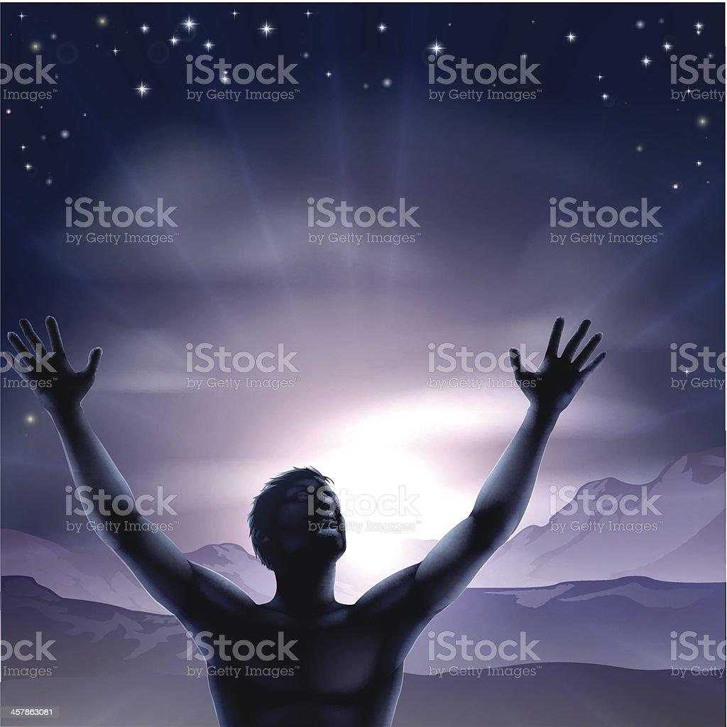 Mann silhouette, Hände Dehnen bis – Vektorgrafik