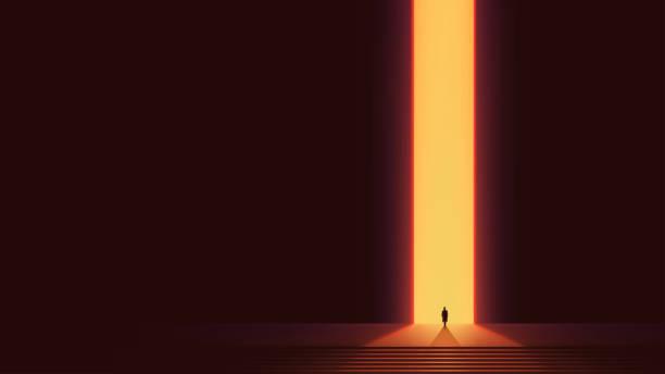 mann silhouette vor leuchtenden portal, futuristischen vektor hintergrund, abstrakte cyberpunk-architektur mit farbverlauf beleuchtung - surreal stock-grafiken, -clipart, -cartoons und -symbole