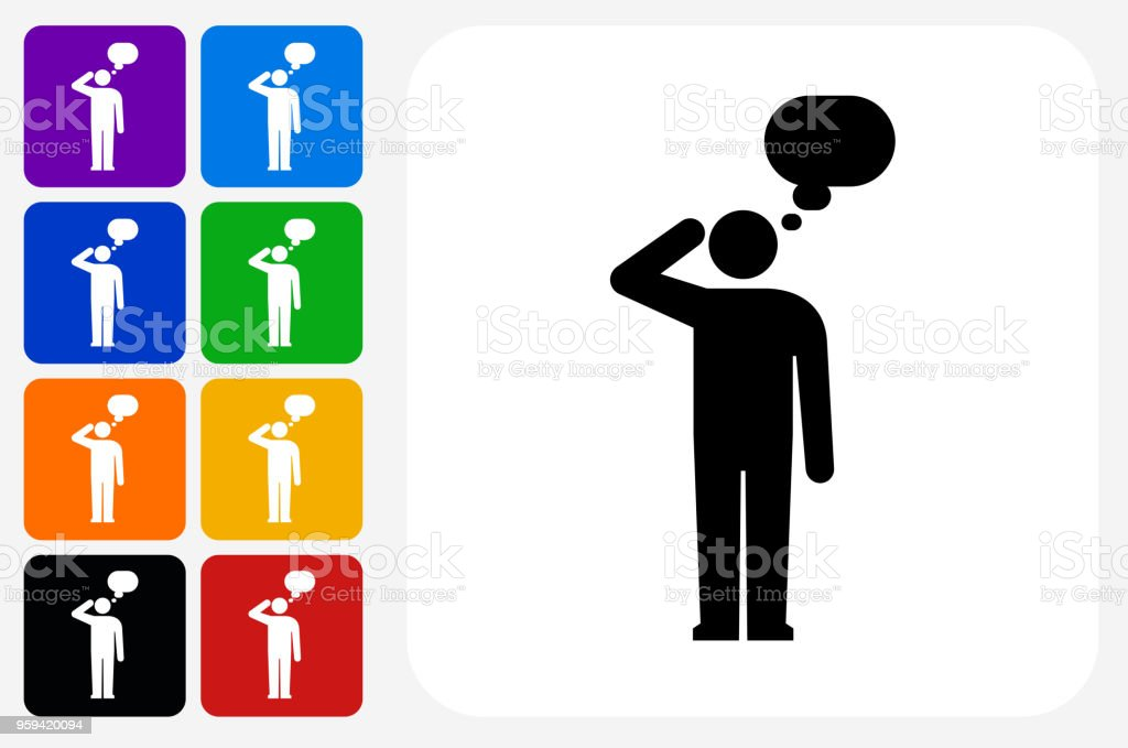 Man Silhouette Thinking Icon Square Button Set vector art illustration