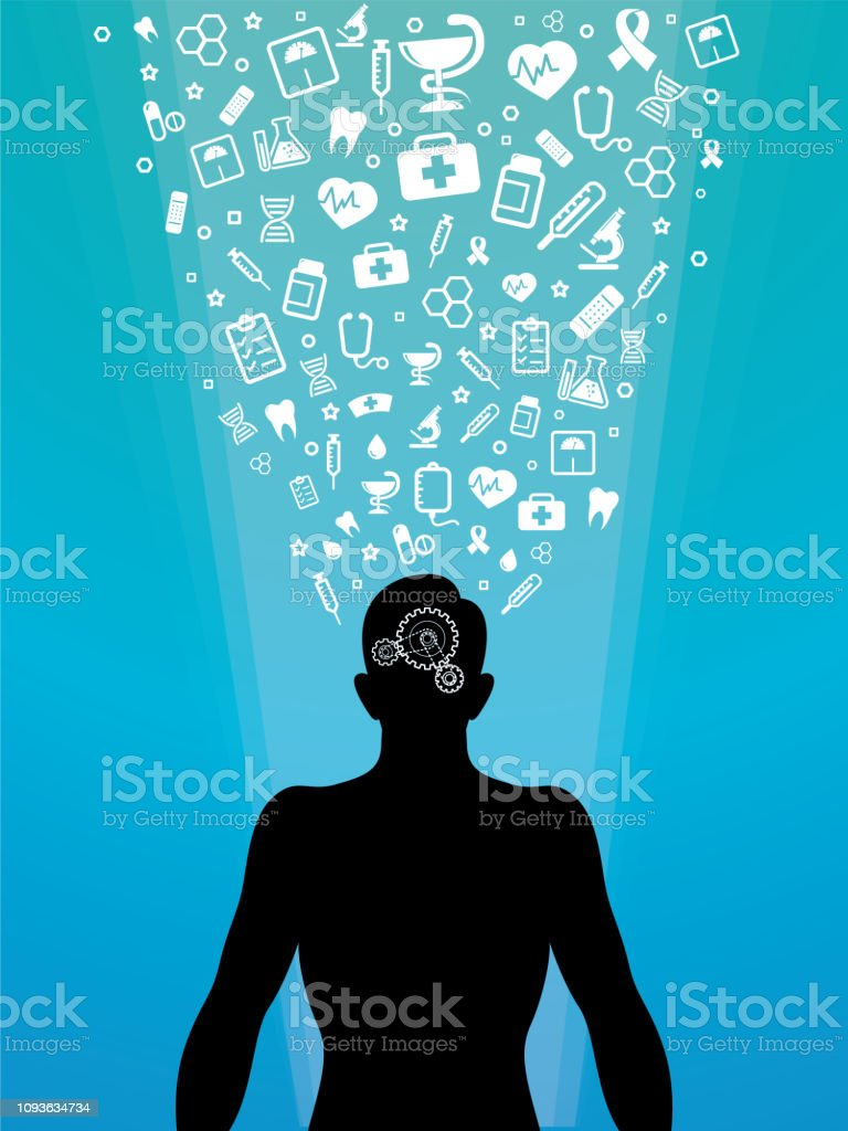 Man silhouette with medical icons vector art illustration
