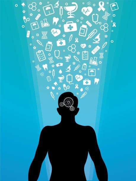Silhouette d'homme avec des icônes médicales - Illustration vectorielle