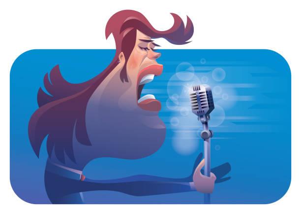 stockillustraties, clipart, cartoons en iconen met mens die met microfoon zingt - tenor