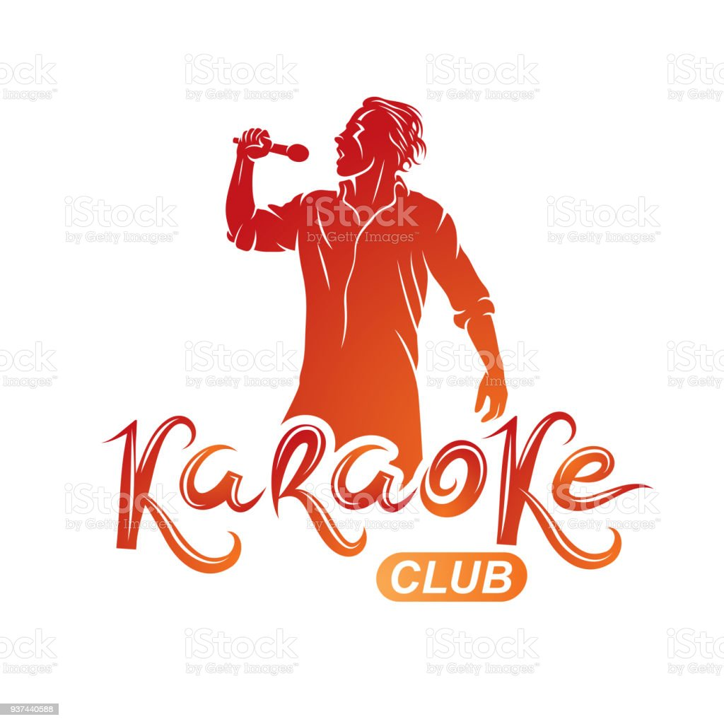 Man sings karaoke, karaoke club emcee show advertising vector emblem composed with microphone audio equipment and musical notes. vector art illustration
