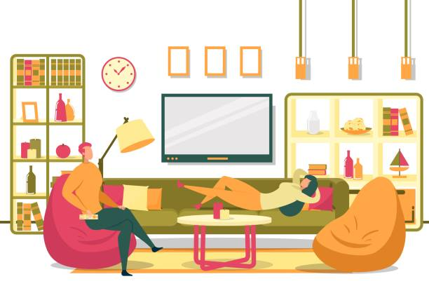 Man Sit in Chair Woman Lie on Couch Relax at Home Cartoon Married Couple in Living Room Vector Illustration. Man with Remote Control Sitting in Chair. Woman Lying on Couch. Husband Wife Watch Tv Series Movie. Relaxing Evening Together at Home family watching tv stock illustrations