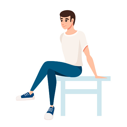 Man sit on white chair. Man in white t-shirt and blue pants. Cartoon character design. Flat vector illustration isolated on white background