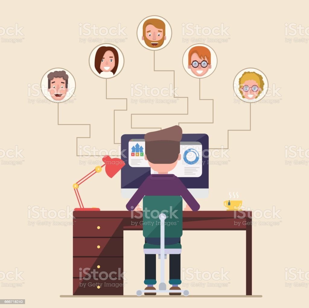 A man sits at a computer and looks at different candidates. vector art illustration