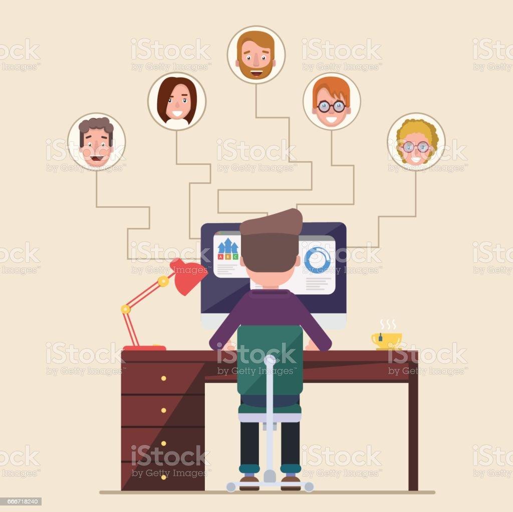 Un hombre se sienta en una computadora y mira los diferentes candidatos. - ilustración de arte vectorial
