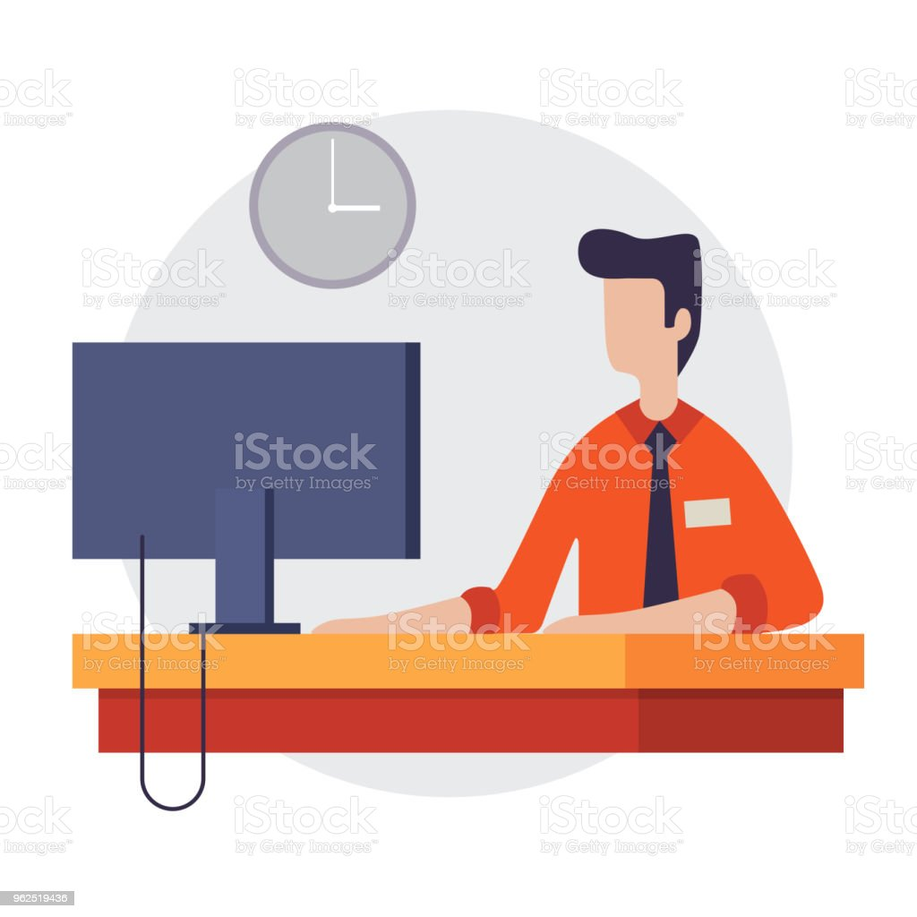 A man sits at a monitor. Work in the office. - Royalty-free Adult stock vector