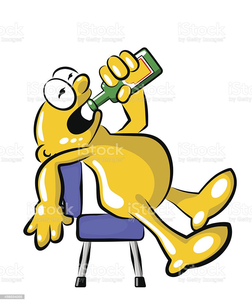 Man sitting and drinking from bottle vector art illustration