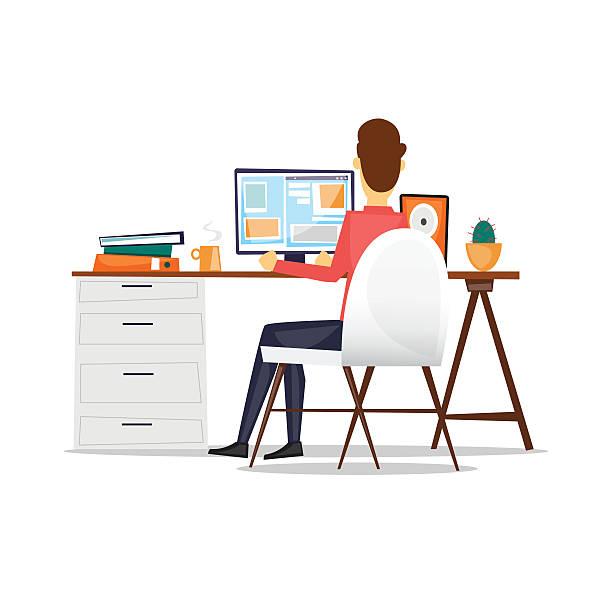 Mann, sitzend an einem Schreibtisch und Arbeiten mit dem computer. – Vektorgrafik