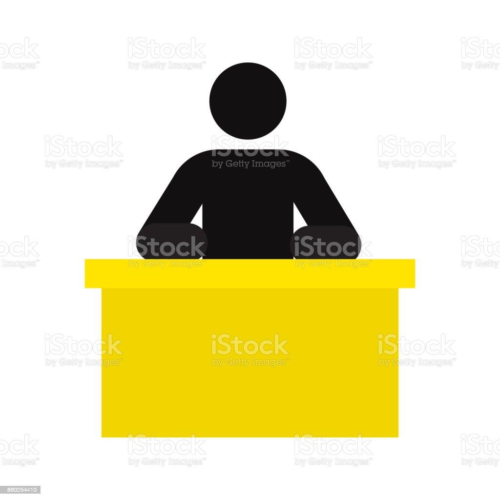 Man sitting at table icon vector art illustration