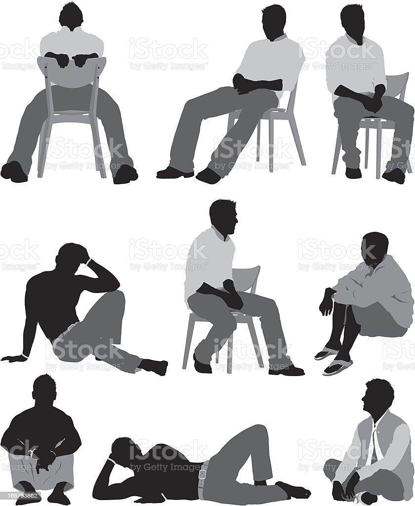 男に座るのポーズ ひざに手を置くのベクターアート素材や画像を多数ご