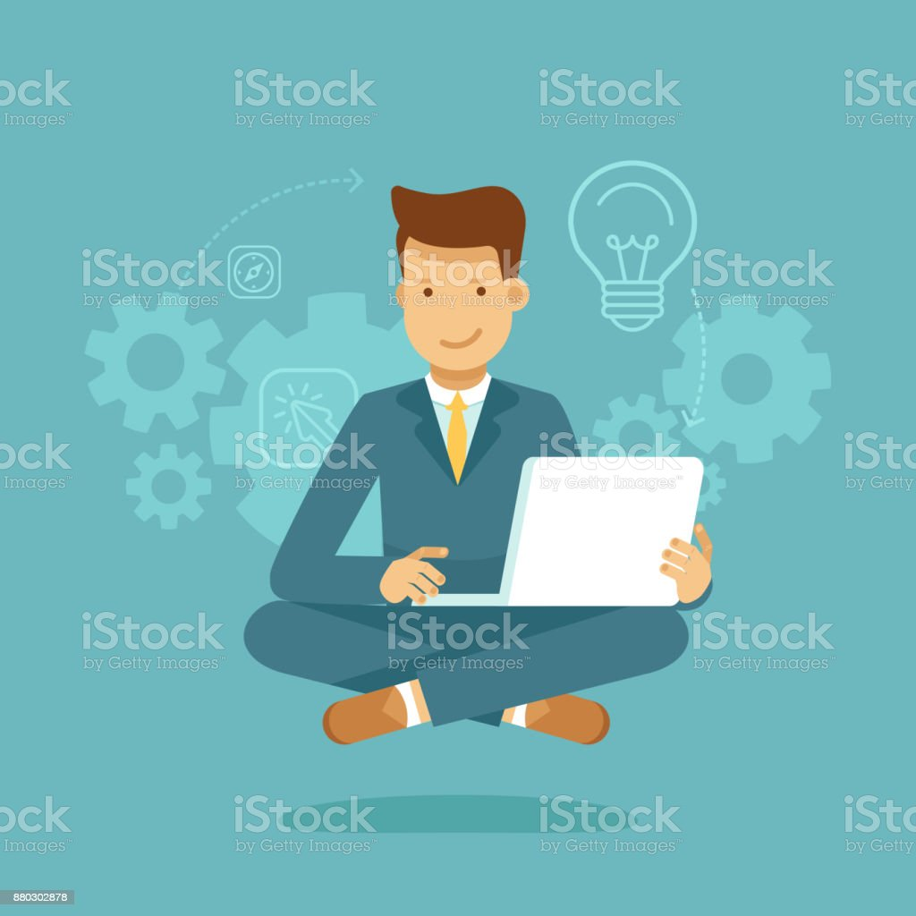 Man sitting in lotus pose with laptop - freelance or outsource worker vector art illustration