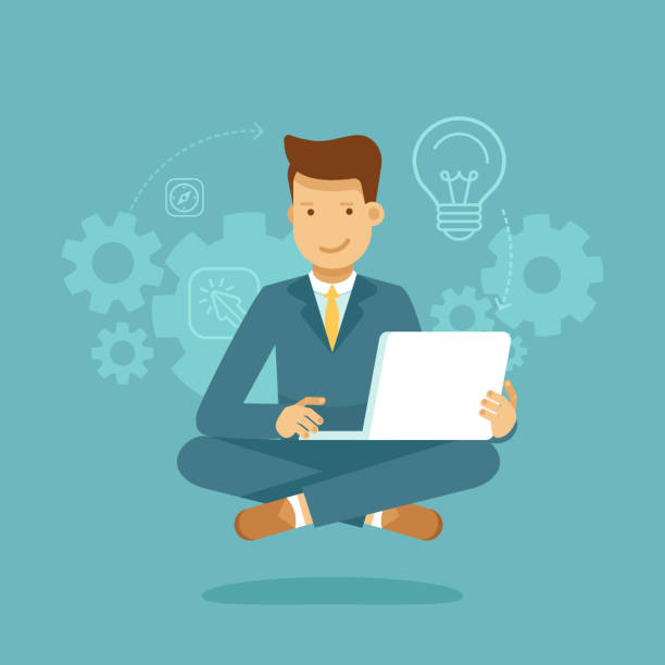 Hombre sentado en postura de loto con laptop - freelance o subcontratar trabajadores - ilustración de arte vectorial