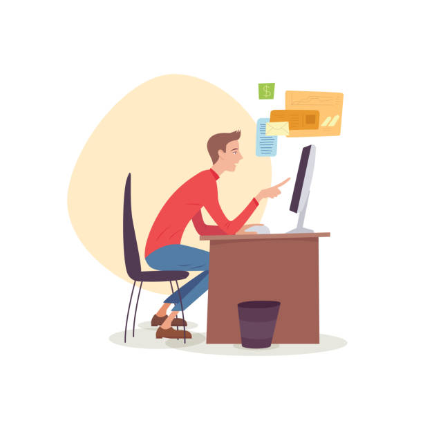 man sitting in office working with computer looking at monitor. - telecommuting stock illustrations, clip art, cartoons, & icons