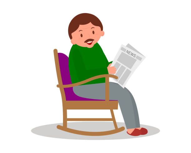 man sitting in rocking chair. man leisure time. youg man reading newspaper. cute man at home.vector illustration. - old man sitting chair clip art stock illustrations, clip art, cartoons, & icons
