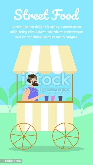 Man Sitting in Wheeled Booth Sell Cool Drinks in City Park. Summer Time, Street Food, Beverages. Seller Offer Fresh Juice, Lemonade to Walking People. Cartoon Flat Vector Illustration, Vertical Banner