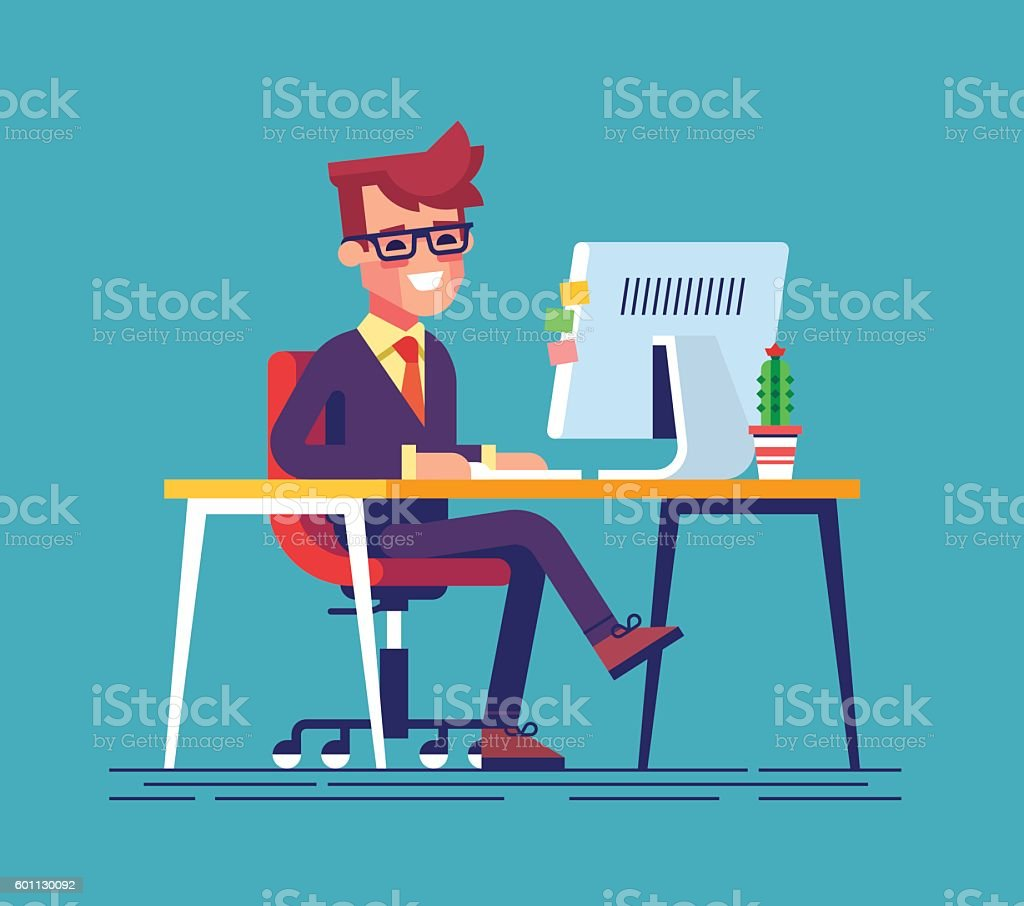 Man sitting legs crossed and typing something vector art illustration
