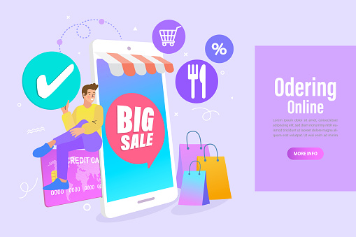 man sitting near a big credit card and mobile phone. Internet digital store scene with women shopping E commerce. Vector illustration.