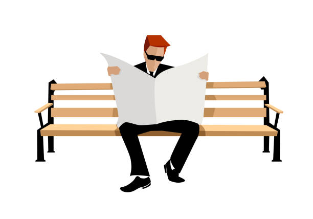 man sitting on a bench and read newspapers - old man sitting backgrounds stock illustrations, clip art, cartoons, & icons