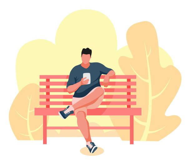 bildbanksillustrationer, clip art samt tecknat material och ikoner med mannen sitter på en bänk - bench