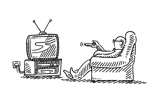 Man Sitting On Armchair Watching TV Drawing