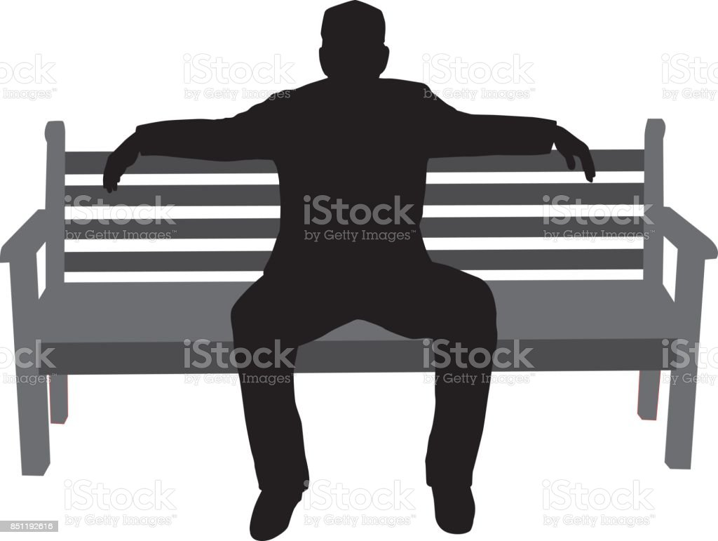 Man Sitting On Beach Silhouete vector art illustration