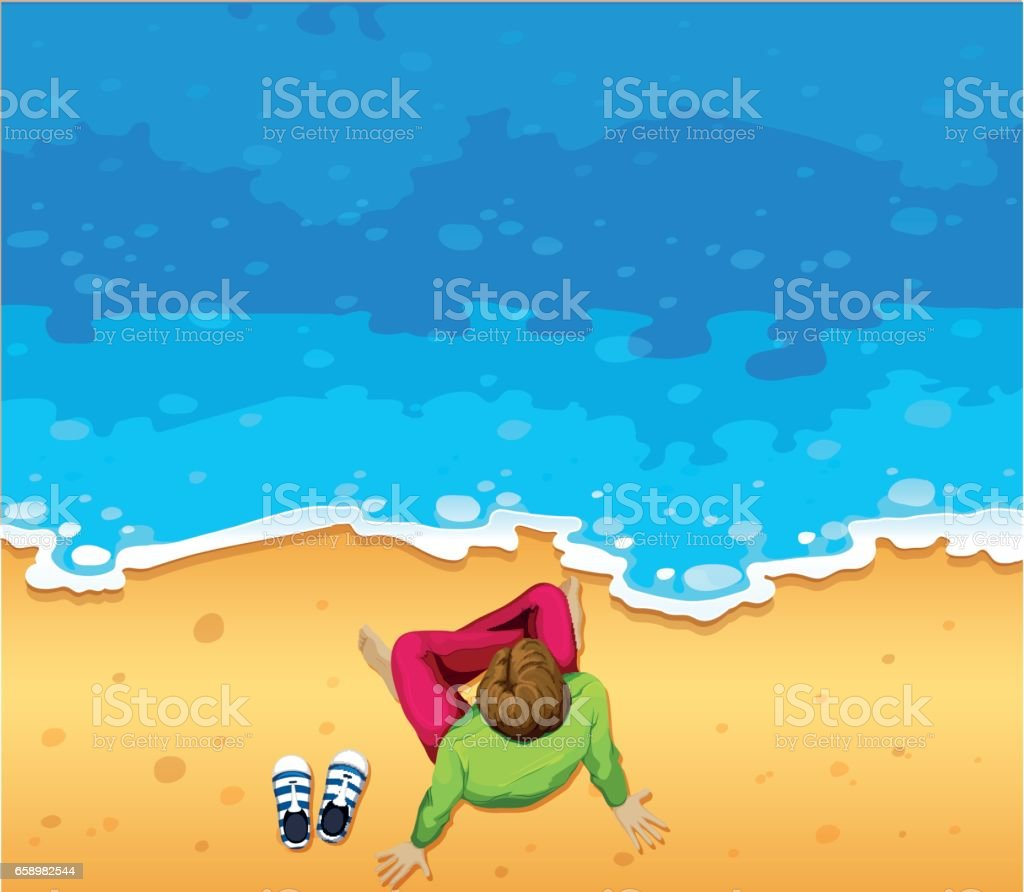Man sitting on beach royalty-free man sitting on beach stock vector art & more images of adult