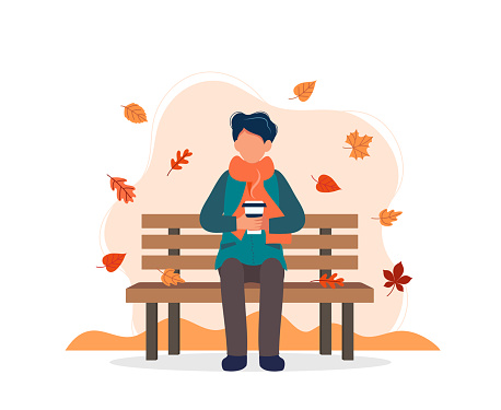 Man sitting on bench in autumn with coffee. Vector illustration in flat style