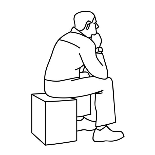 man sitting on box. view from the back. black lines isolated on white background. concept. vector illustration of old man sitting on cube putting elbows on his knees in simple sketch style. monochrome minimalism. - old man sitting chair drawing stock illustrations, clip art, cartoons, & icons
