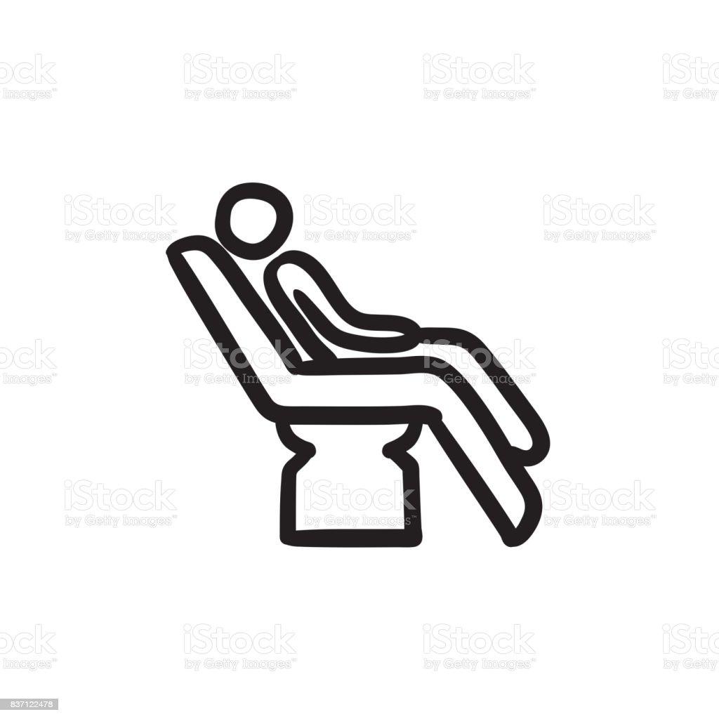 Homme Assis Sur Le Fauteuil Dentaire Croquis Icone Stock Vecteur