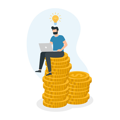Man sitting on money coin stack and working with laptop.Web