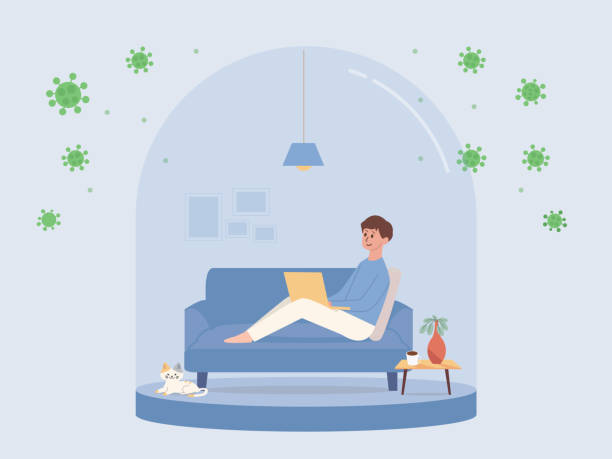 Man sitting on sofa and working with computer in small glass room like a snow ball. Concept Illustration about Stay at Home for protect virus. vector art illustration