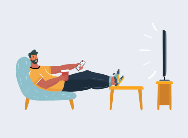 illustrazioni stock, clip art, cartoni animati e icone di tendenza di man sitting on the couch and watching tv. - divano procrastinazione