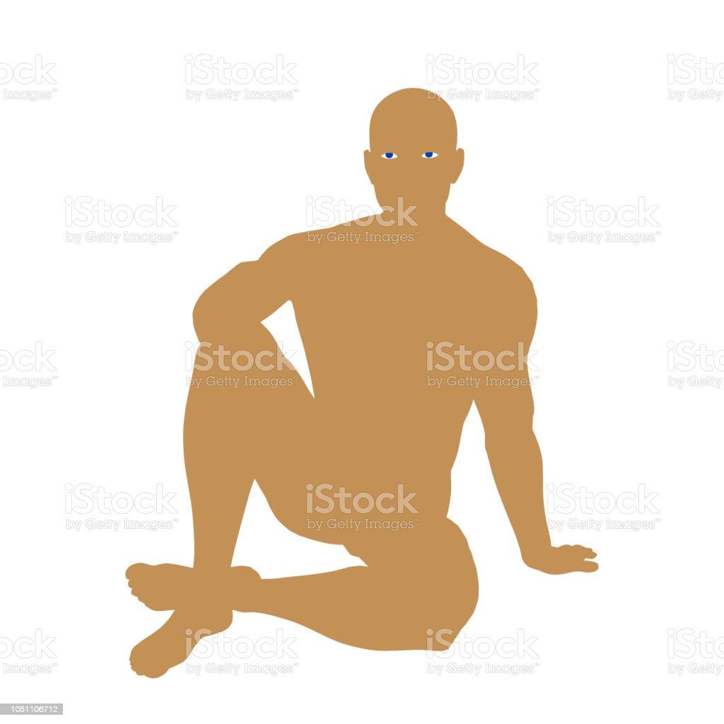 Yerde Oturan Adam Vektör Siluet çizimi Stok Vektör Sanatı Adamlar