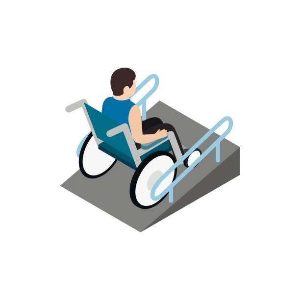 Mann sitzt im Rollstuhl auf die Rampe-Symbol – Vektorgrafik
