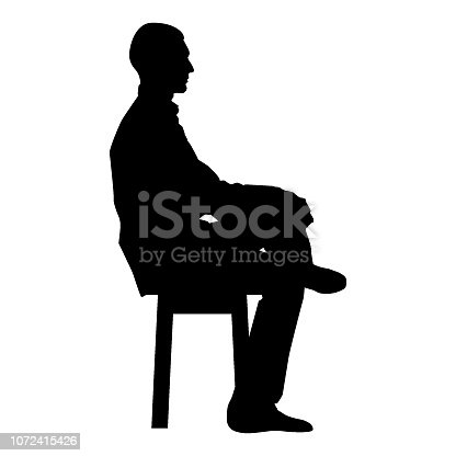 Man sitting pose Young man sits on a chair with his leg thrown silhouette icon black color vector illustration flat style simple image