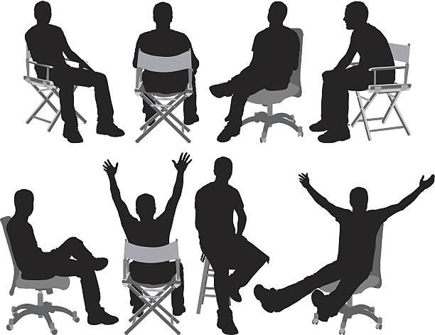 Man sitting vector art illustration