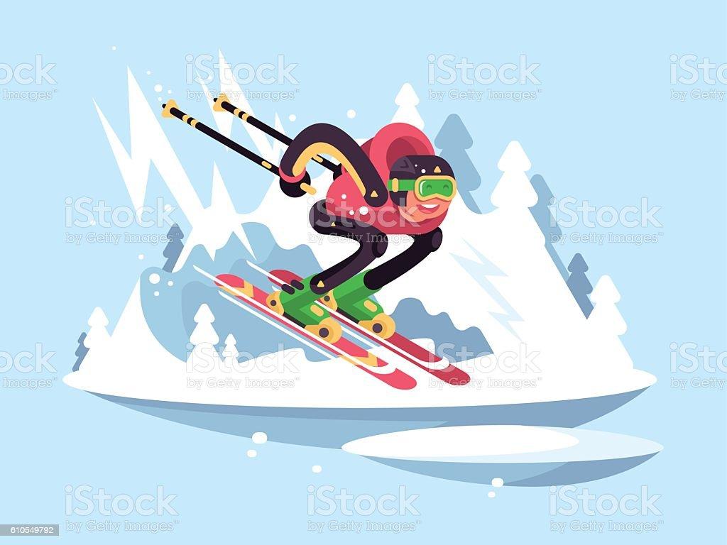 Man skiing in winter vector art illustration