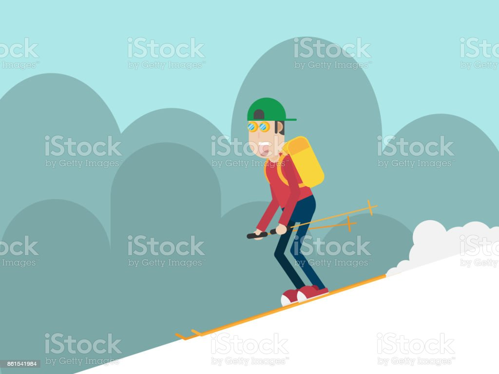 man skiing on mountain flat style vector art illustration