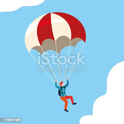 man skydiver in air with parachute open vector illustration design
