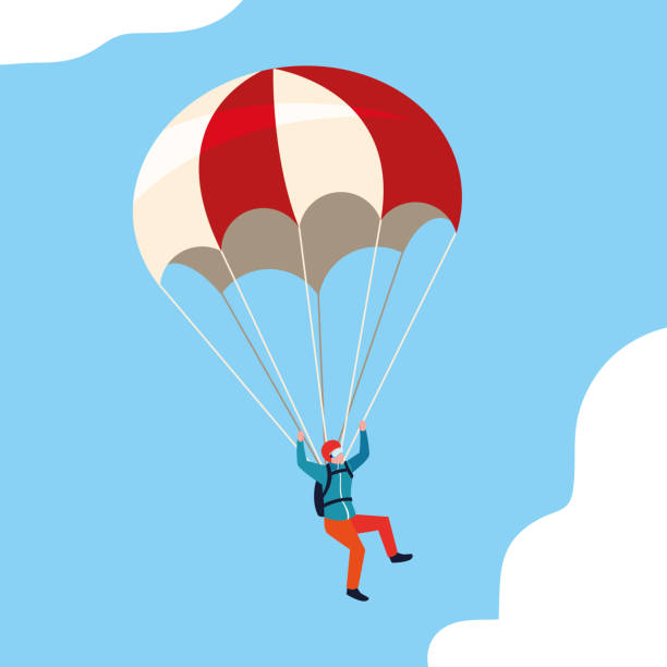 man skydiver in air with parachute open man skydiver in air with parachute open vector illustration design parachuting stock illustrations