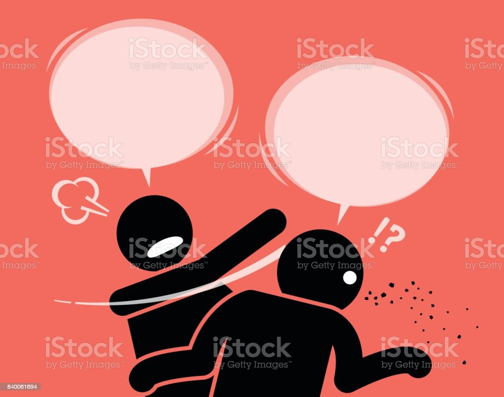 A man slaps his friend for talking nonsense. vector art illustration